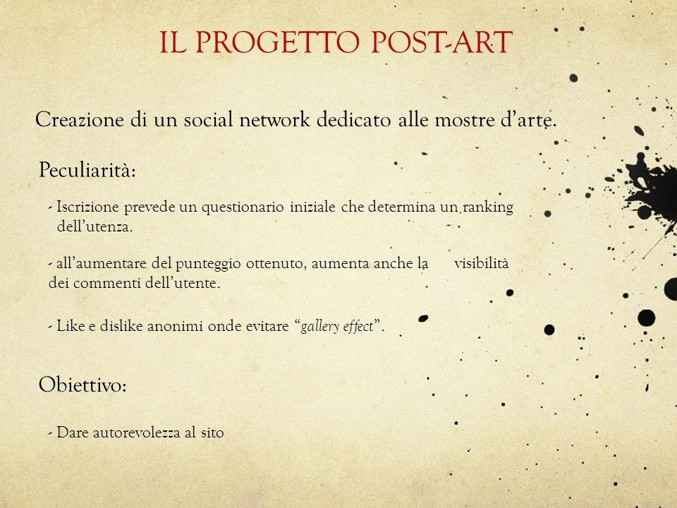 IL PROGETTO POST-ART Creazione di un social network dedicato alle mostre darte. Peculiarità: - Iscrizione prevede un questionario iniziale che determi