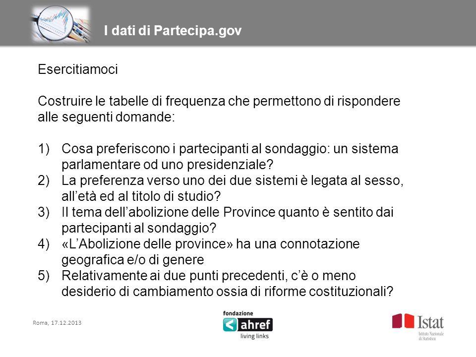 Roma, 17.12.2013 Titolo titolo titolo titolo I dati di Partecipa.gov Esercitiamoci Costruire le tabelle di frequenza che permettono di rispondere alle