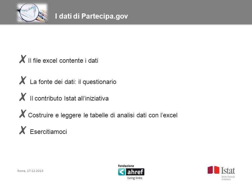 Il file excel contente i dati La fonte dei dati: il questionario Il contributo Istat alliniziativa Costruire e leggere le tabelle di analisi dati con