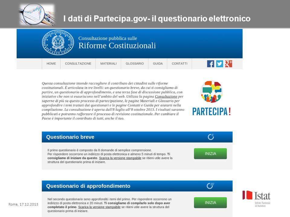 Roma, xx.xx.xxxx Titolo titolo titolo titolo I dati di Partecipa.gov- il questionario elettronico Roma, 17.12.2013