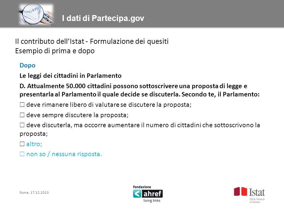Titolo titolo titolo titolo I dati di Partecipa.gov Dopo Le leggi dei cittadini in Parlamento D.