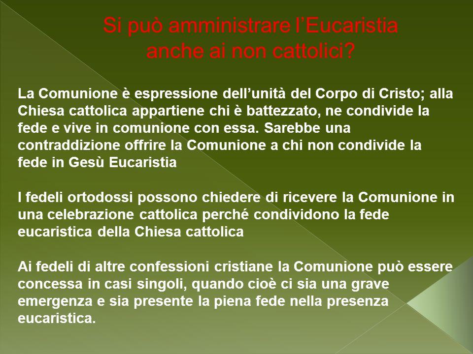 Si può amministrare lEucaristia anche ai non cattolici? La Comunione è espressione dellunità del Corpo di Cristo; alla Chiesa cattolica appartiene chi