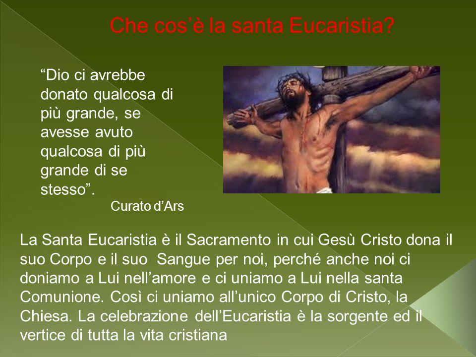 La Santa Eucaristia è il Sacramento in cui Gesù Cristo dona il suo Corpo e il suo Sangue per noi, perché anche noi ci doniamo a Lui nellamore e ci uni
