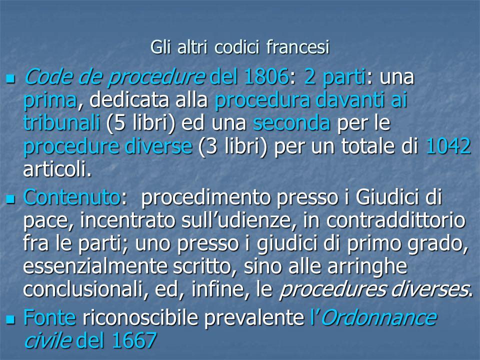 Gli altri codici francesi Code de procedure del 1806: 2 parti: una prima, dedicata alla procedura davanti ai tribunali (5 libri) ed una seconda per le