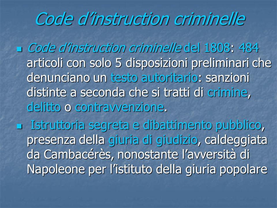 Code dinstruction criminelle Code dinstruction criminelle del 1808: 484 articoli con solo 5 disposizioni preliminari che denunciano un testo autoritar