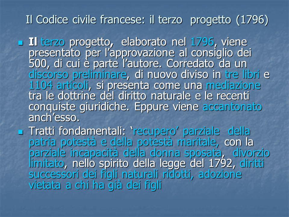Il Codice civile francese: il terzo progetto (1796) Il terzo progetto, elaborato nel 1796, viene presentato per lapprovazione al consiglio dei 500, di