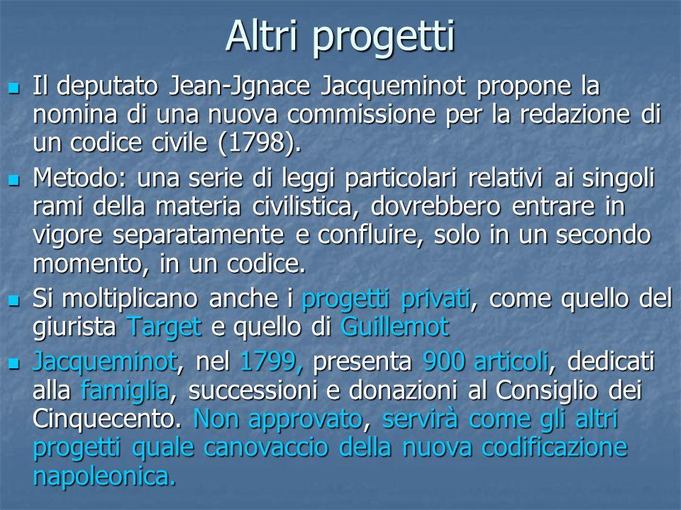Altri progetti Il deputato Jean-Jgnace Jacqueminot propone la nomina di una nuova commissione per la redazione di un codice civile (1798). Il deputato
