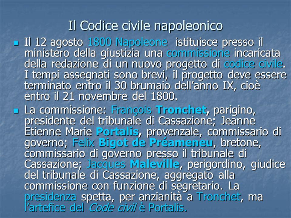 Il Codice civile napoleonico Il 12 agosto 1800 Napoleone istituisce presso il ministero della giustizia una commissione incaricata della redazione di