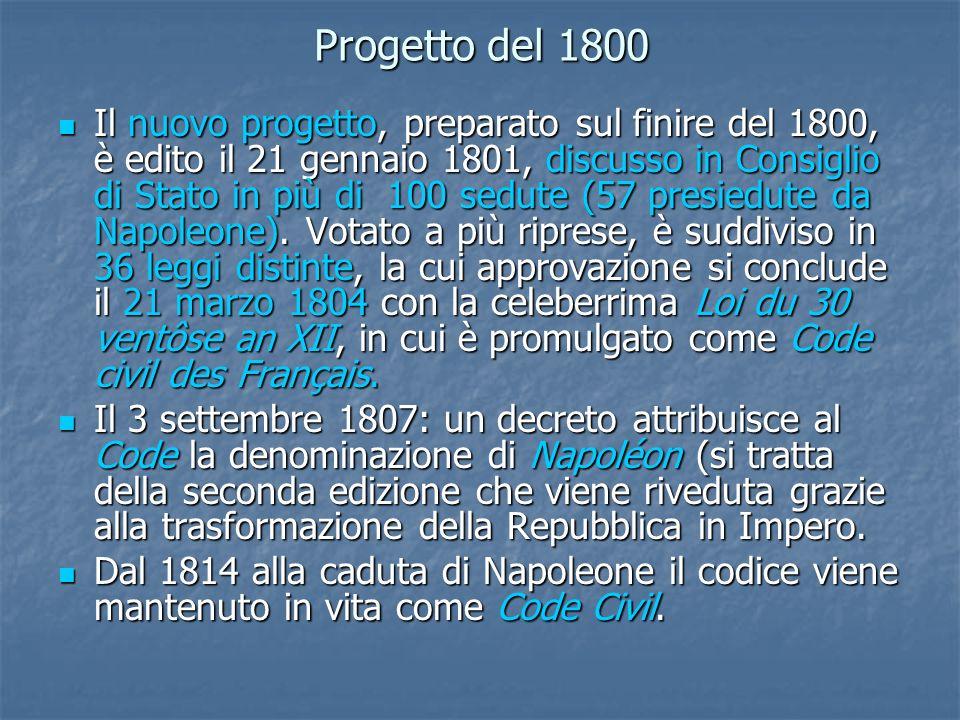 Progetto del 1800 Il nuovo progetto, preparato sul finire del 1800, è edito il 21 gennaio 1801, discusso in Consiglio di Stato in più di 100 sedute (5