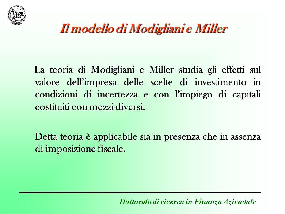 Dottorato di ricerca in Finanza Aziendale Il modello di Modigliani e Miller La teoria di Modigliani e Miller studia gli effetti sul valore dellimpresa delle scelte di investimento in condizioni di incertezza e con limpiego di capitali costituiti con mezzi diversi.