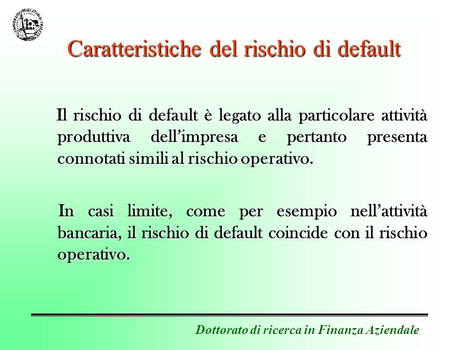 Dottorato di ricerca in Finanza Aziendale La rischiosità dellattivo bancario Si supponga che il portafoglio crediti della banca sia il seguente: Credito A: 10.000 euro; h(0,t) = 5%Credito A: 10.000 euro; h(0,t) = 5% Credito B: 5.000 euro; h(0,t) = 3%Credito B: 5.000 euro; h(0,t) = 3% Credito C: 15.000 euro; h(0,t) = 2%Credito C: 15.000 euro; h(0,t) = 2% Credito D: 20.000 euro; h(0,t) = 8%Credito D: 20.000 euro; h(0,t) = 8% Credito E: 10.000 euro; h(0,t) = 4%Credito E: 10.000 euro; h(0,t) = 4% La rischiosità delle assets è la media ponderata del rischio di perdita associato a ciascun credito.
