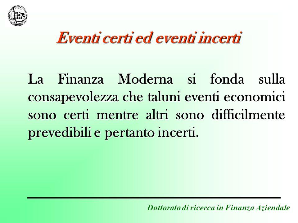La Finanza Moderna si fonda sulla consapevolezza che taluni eventi economici sono certi mentre altri sono difficilmente prevedibili e pertanto incerti.