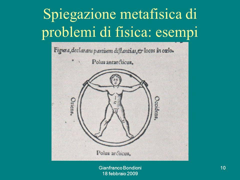 Gianfranco Bondioni 18 febbraio 2009 10 Spiegazione metafisica di problemi di fisica: esempi