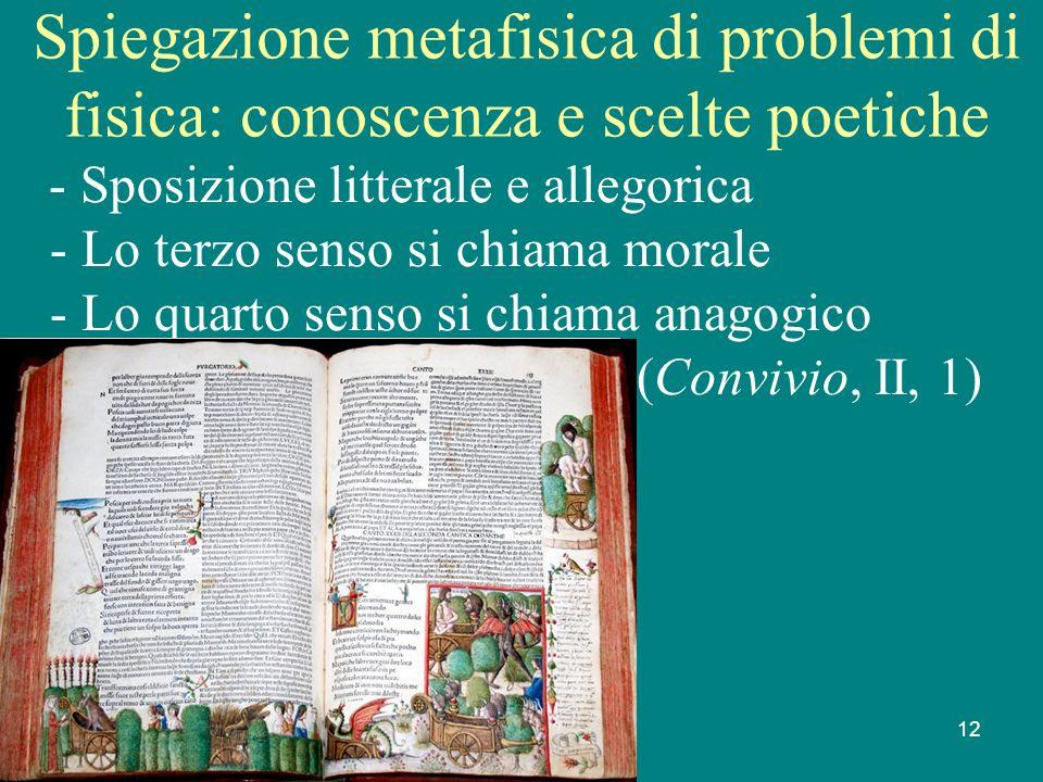 Gianfranco Bondioni 18 febbraio 2009 12 Spiegazione metafisica di problemi di fisica: conoscenza e scelte poetiche - Sposizione litterale e allegorica - Lo terzo senso si chiama morale - Lo quarto senso si chiama anagogico (Convivio, II, 1)