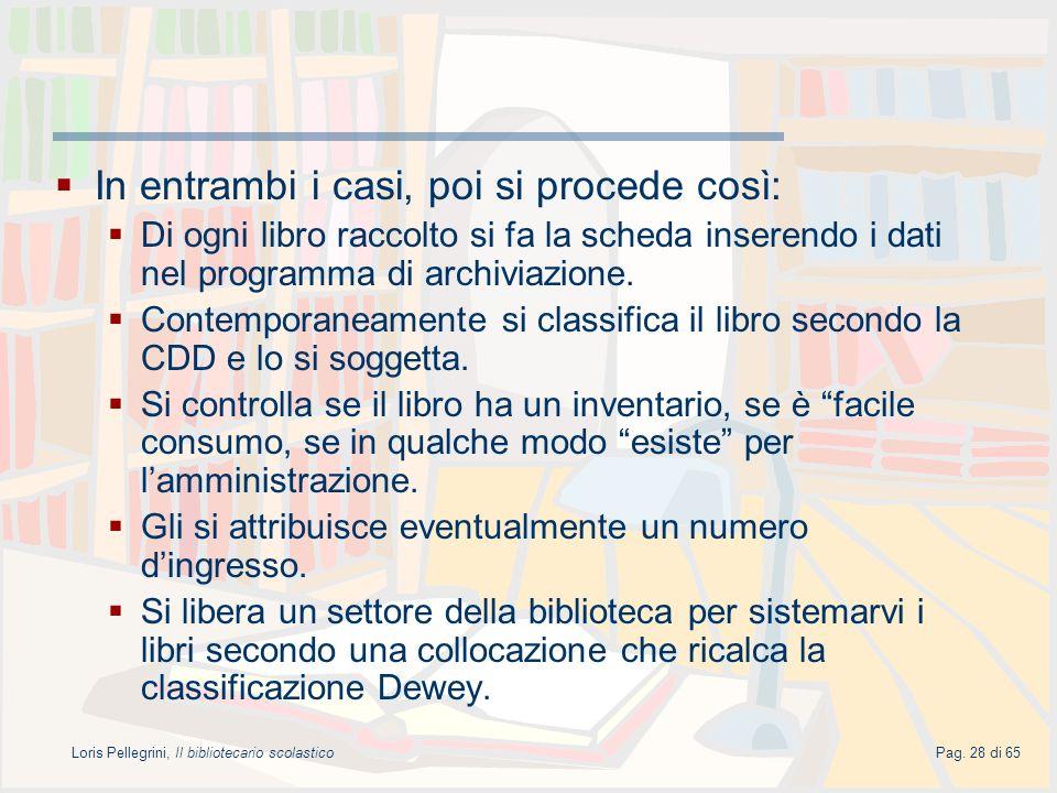 Loris Pellegrini, Il bibliotecario scolasticoPag. 28 di 65 In entrambi i casi, poi si procede così: Di ogni libro raccolto si fa la scheda inserendo i