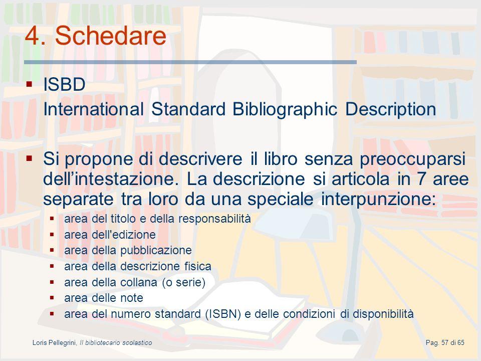 Loris Pellegrini, Il bibliotecario scolasticoPag. 57 di 65 4. Schedare ISBD International Standard Bibliographic Description Si propone di descrivere