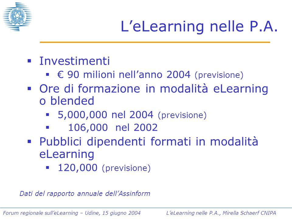 Forum regionale sulleLearning – Udine, 15 giugno 2004 LeLearning nelle P.A., Mirella Schaerf CNIPA La direttiva, linee guida, il vademecum La Direttiva sarà emanata congiuntamente dai Ministri Stanca e Mazzella dopo lesame da parte dei rispettivi uffici legislativi Il CNIPA ha elaborato le Linee Guida che accompagnano la Direttiva Il CNIPA ha curato la stesura di un Vademecum illustrativo che è stato presentato al Forum P.A.