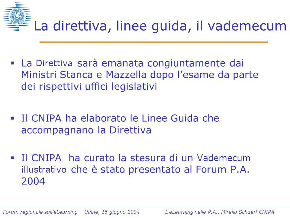 Forum regionale sulleLearning – Udine, 15 giugno 2004 LeLearning nelle P.A., Mirella Schaerf CNIPA I tre documenti e i loro destinatari DIRETTIVA LINEE GUIDA VADEMECUM Dirigenti della P.A.
