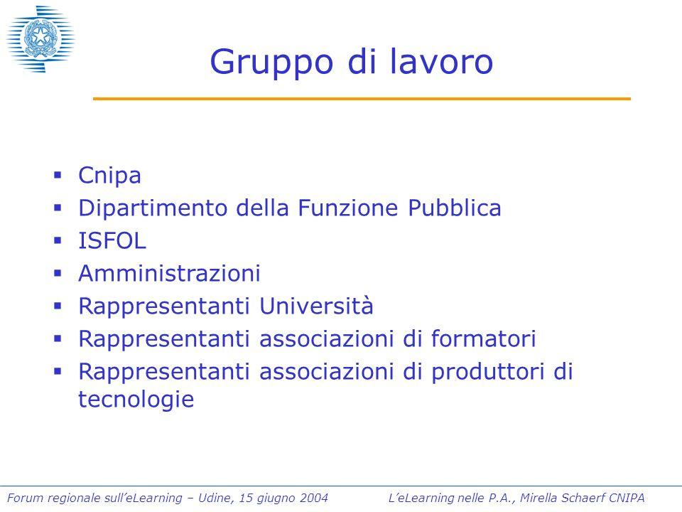 Forum regionale sulleLearning – Udine, 15 giugno 2004 LeLearning nelle P.A., Mirella Schaerf CNIPA Gruppo di lavoro Cnipa Dipartimento della Funzione Pubblica ISFOL Amministrazioni Rappresentanti Università Rappresentanti associazioni di formatori Rappresentanti associazioni di produttori di tecnologie