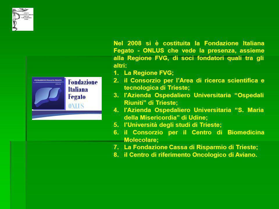 Nel 2008 si è costituita la Fondazione Italiana Fegato - ONLUS che vede la presenza, assieme alla Regione FVG, di soci fondatori quali tra gli altri: 1.La Regione FVG; 2.il Consorzio per lArea di ricerca scientifica e tecnologica di Trieste; 3.l Azienda Ospedaliero Universitaria Ospedali Riuniti di Trieste; 4.l Azienda Ospedaliero Universitaria S.