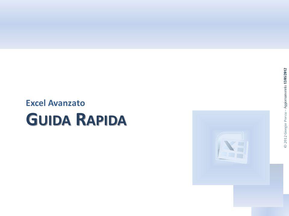 © 2012 Giorgio Porcu – Aggiornamennto 13/05/2012 G UIDA R APIDA Excel Avanzato
