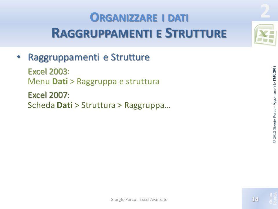 © 2012 Giorgio Porcu – Aggiornamennto 13/05/2012 G UIDA R APIDA 2 O RGANIZZARE I DATI R AGGRUPPAMENTI E S TRUTTURE Raggruppamenti e Strutture Raggrupp