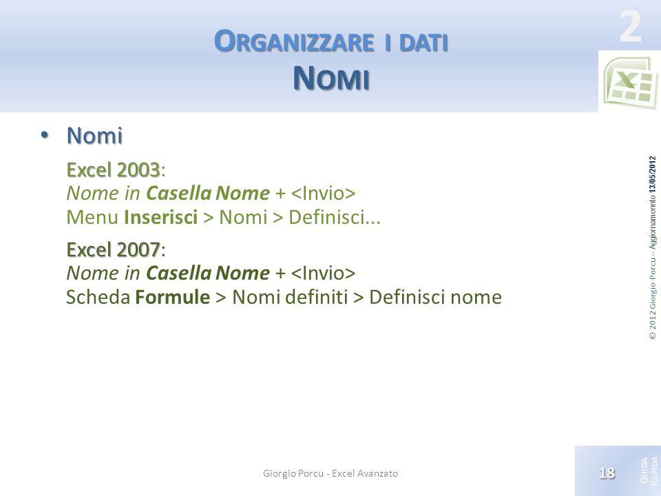 © 2012 Giorgio Porcu – Aggiornamennto 13/05/2012 G UIDA R APIDA 2 O RGANIZZARE I DATI N OMI Nomi Nomi Excel 2003 Excel 2003: Nome in Casella Nome + Me