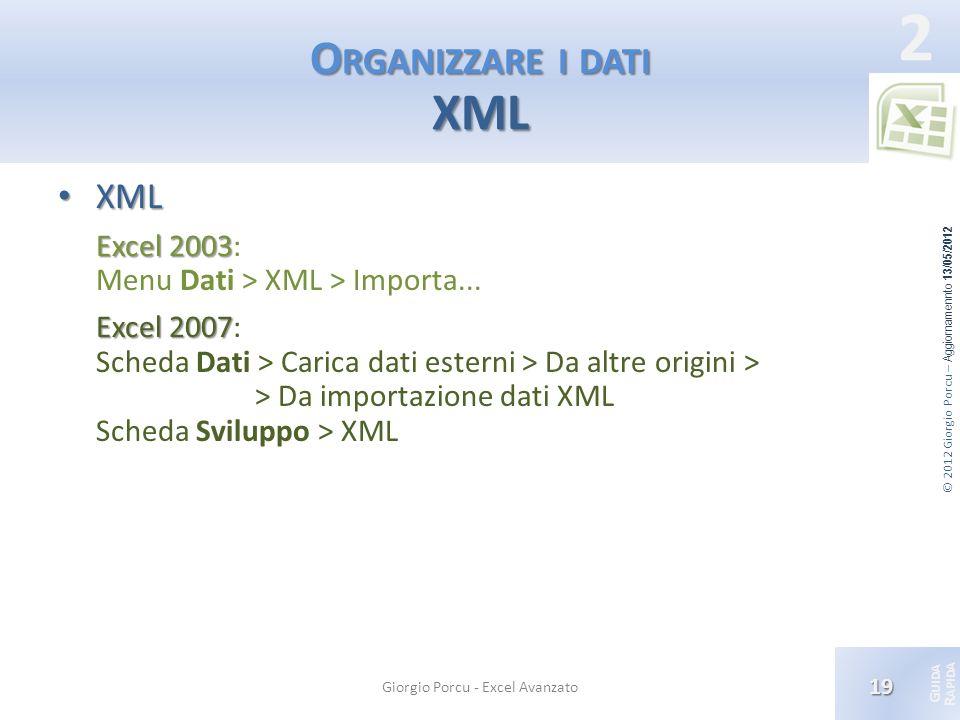 © 2012 Giorgio Porcu – Aggiornamennto 13/05/2012 G UIDA R APIDA 2 O RGANIZZARE I DATI XML XML XML Excel 2003 Excel 2003: Menu Dati > XML > Importa...