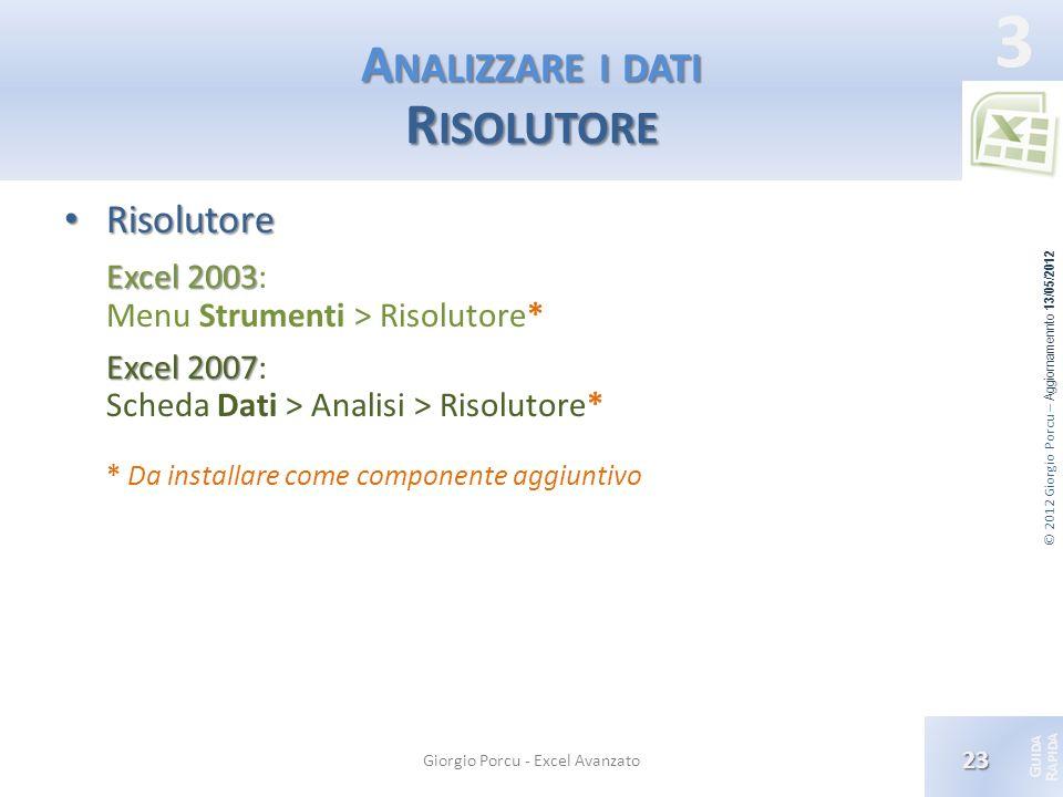 © 2012 Giorgio Porcu – Aggiornamennto 13/05/2012 G UIDA R APIDA 3 A NALIZZARE I DATI R ISOLUTORE Risolutore Risolutore Excel 2003 Excel 2003: Menu Str