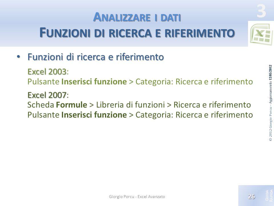 © 2012 Giorgio Porcu – Aggiornamennto 13/05/2012 G UIDA R APIDA 3 A NALIZZARE I DATI F UNZIONI DI RICERCA E RIFERIMENTO Funzioni di ricerca e riferime