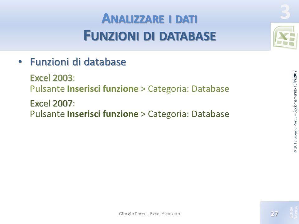 © 2012 Giorgio Porcu – Aggiornamennto 13/05/2012 G UIDA R APIDA 3 A NALIZZARE I DATI F UNZIONI DI DATABASE Funzioni di database Funzioni di database E