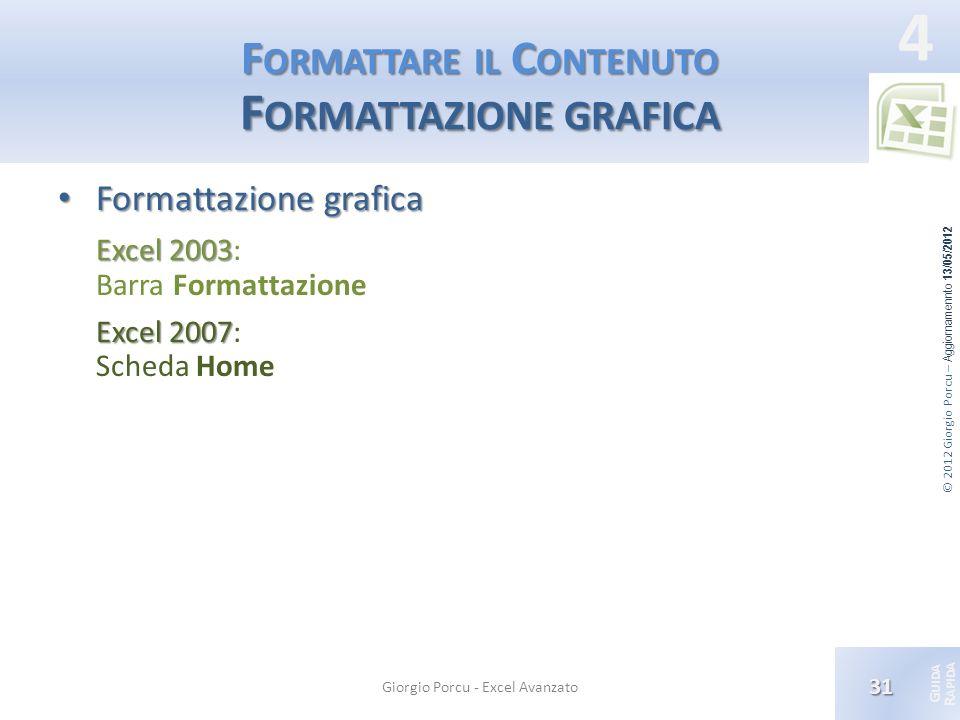 © 2012 Giorgio Porcu – Aggiornamennto 13/05/2012 G UIDA R APIDA 4 F ORMATTARE IL C ONTENUTO F ORMATTAZIONE GRAFICA Formattazione grafica Formattazione