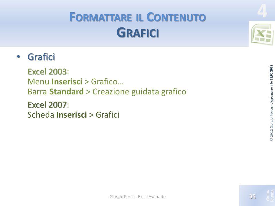 © 2012 Giorgio Porcu – Aggiornamennto 13/05/2012 G UIDA R APIDA 4 F ORMATTARE IL C ONTENUTO G RAFICI Grafici Grafici Excel 2003 Excel 2003: Menu Inser
