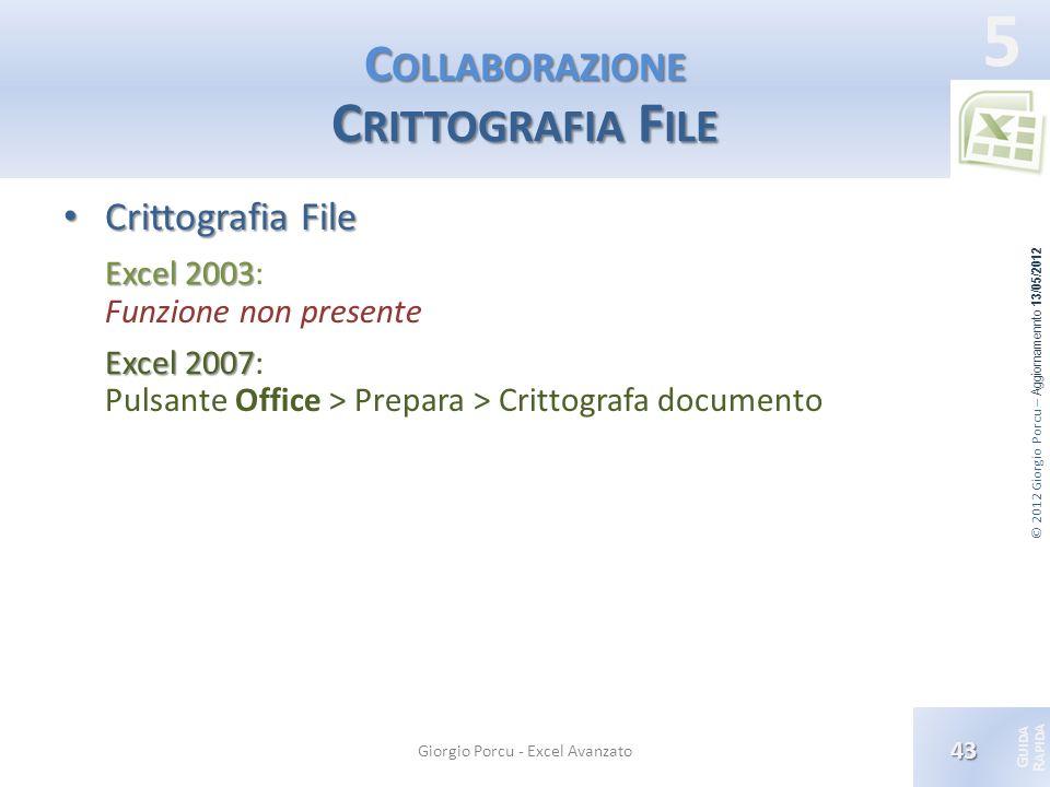 © 2012 Giorgio Porcu – Aggiornamennto 13/05/2012 G UIDA R APIDA 5 C OLLABORAZIONE C RITTOGRAFIA F ILE Crittografia File Crittografia File Excel 2003 E