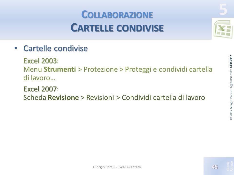 © 2012 Giorgio Porcu – Aggiornamennto 13/05/2012 G UIDA R APIDA 5 C OLLABORAZIONE C ARTELLE CONDIVISE Cartelle condivise Cartelle condivise Excel 2003
