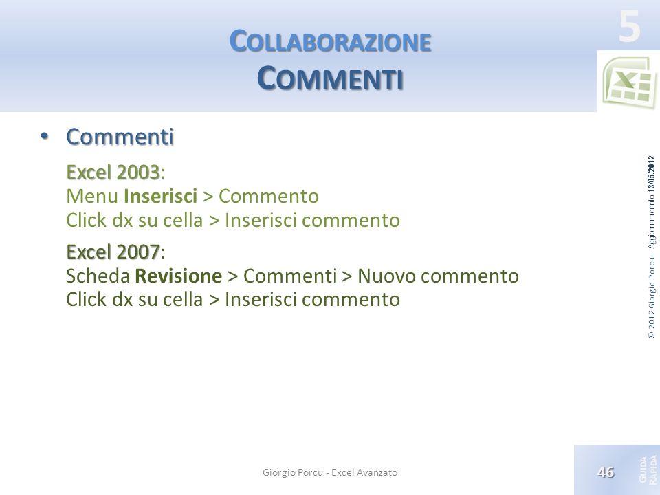 © 2012 Giorgio Porcu – Aggiornamennto 13/05/2012 G UIDA R APIDA 5 C OLLABORAZIONE C OMMENTI Commenti Commenti Excel 2003 Excel 2003: Menu Inserisci >