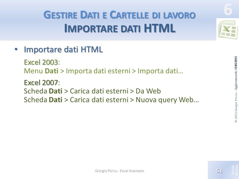 © 2012 Giorgio Porcu – Aggiornamennto 13/05/2012 G UIDA R APIDA 6 G ESTIRE D ATI E C ARTELLE DI LAVORO I MPORTARE DATI HTML Importare dati HTML Import