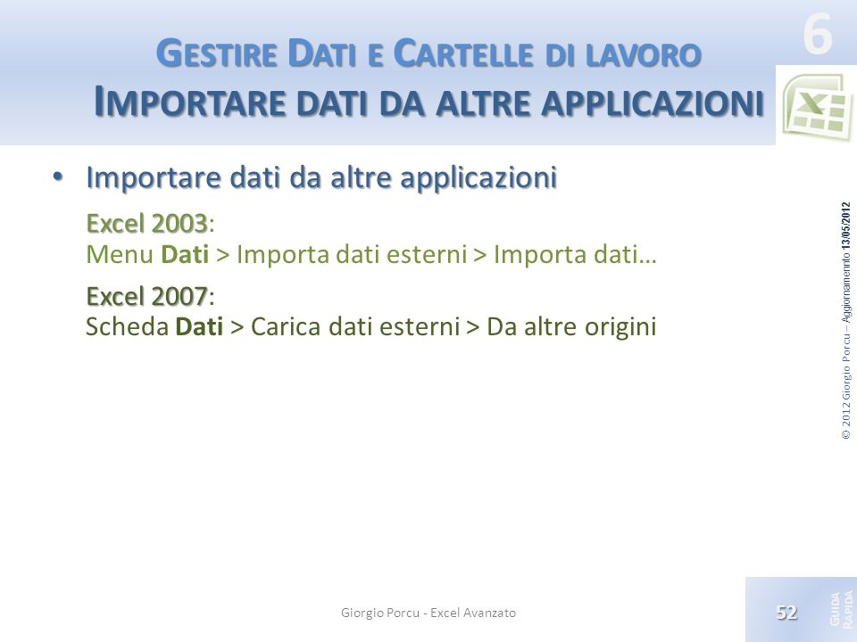 © 2012 Giorgio Porcu – Aggiornamennto 13/05/2012 G UIDA R APIDA 6 G ESTIRE D ATI E C ARTELLE DI LAVORO I MPORTARE DATI DA ALTRE APPLICAZIONI Importare