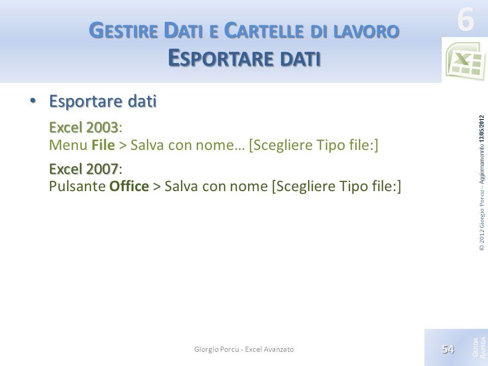 © 2012 Giorgio Porcu – Aggiornamennto 13/05/2012 G UIDA R APIDA 6 G ESTIRE D ATI E C ARTELLE DI LAVORO E SPORTARE DATI Esportare dati Esportare dati E