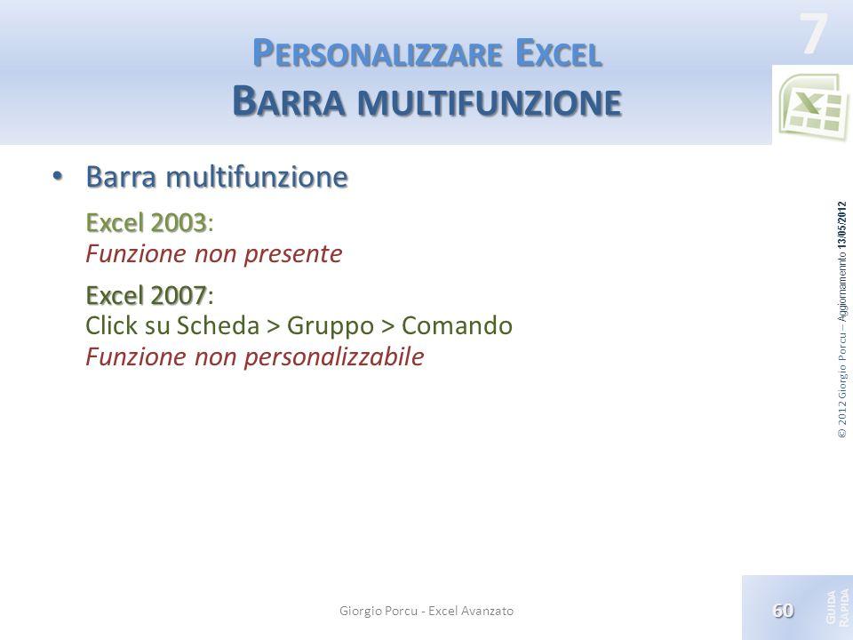 © 2012 Giorgio Porcu – Aggiornamennto 13/05/2012 G UIDA R APIDA 7 P ERSONALIZZARE E XCEL B ARRA MULTIFUNZIONE Barra multifunzione Barra multifunzione