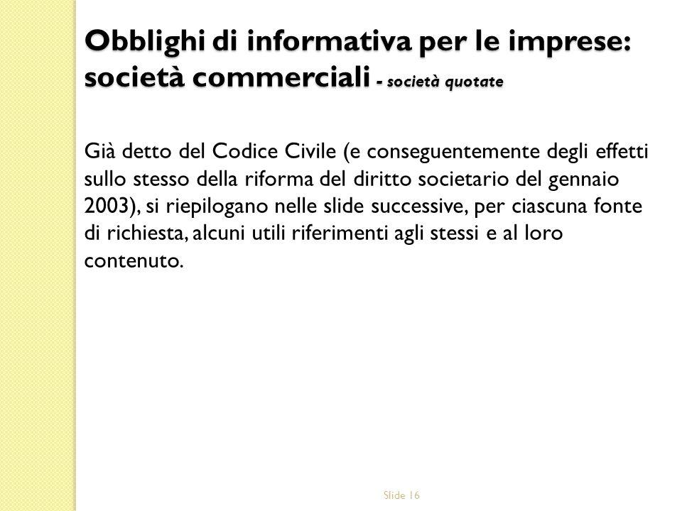 Slide 16 Già detto del Codice Civile (e conseguentemente degli effetti sullo stesso della riforma del diritto societario del gennaio 2003), si riepilo