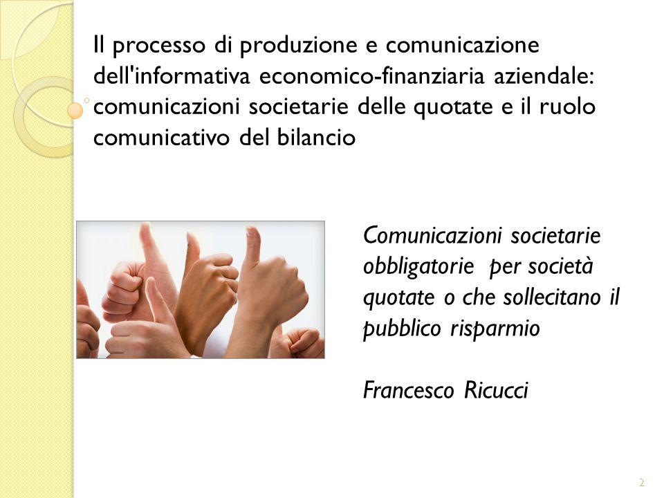 Comunicazioni societarie obbligatorie per società quotate o che sollecitano il pubblico risparmio Francesco Ricucci 2 Il processo di produzione e comu