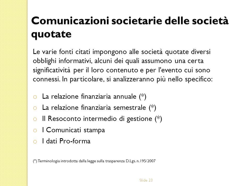 Slide 23 Comunicazioni societarie delle società quotate Le varie fonti citati impongono alle società quotate diversi obblighi informativi, alcuni dei