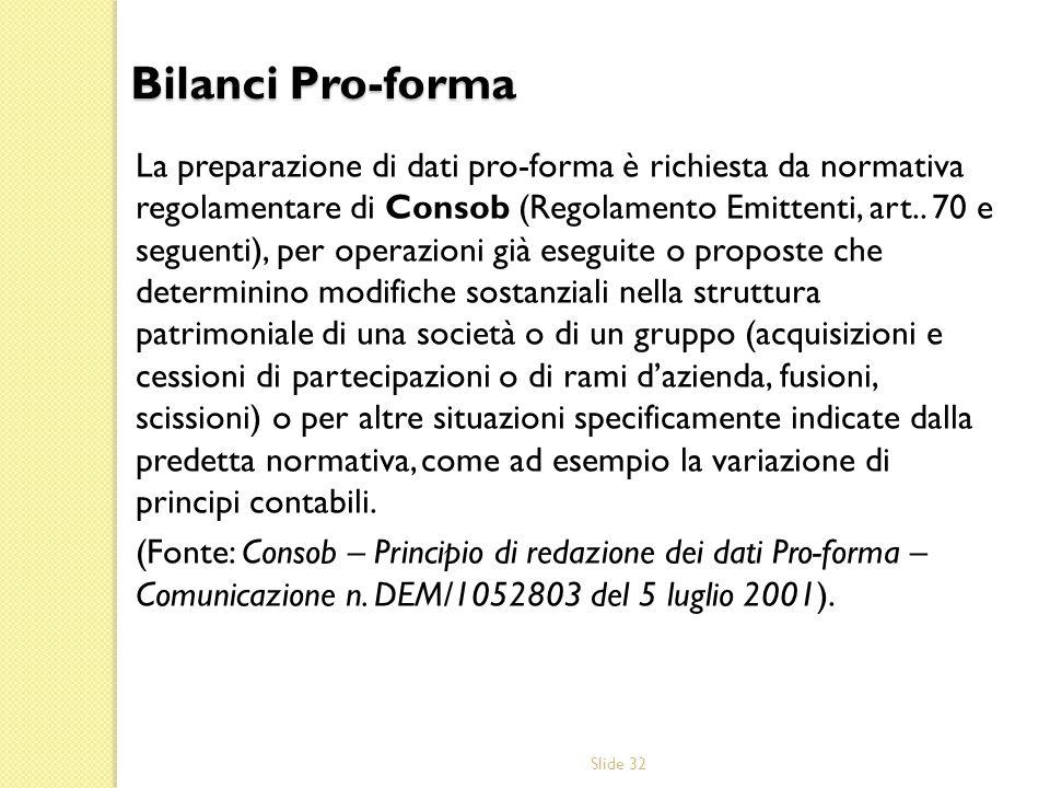 Slide 32 La preparazione di dati pro-forma è richiesta da normativa regolamentare di Consob (Regolamento Emittenti, art.. 70 e seguenti), per operazio