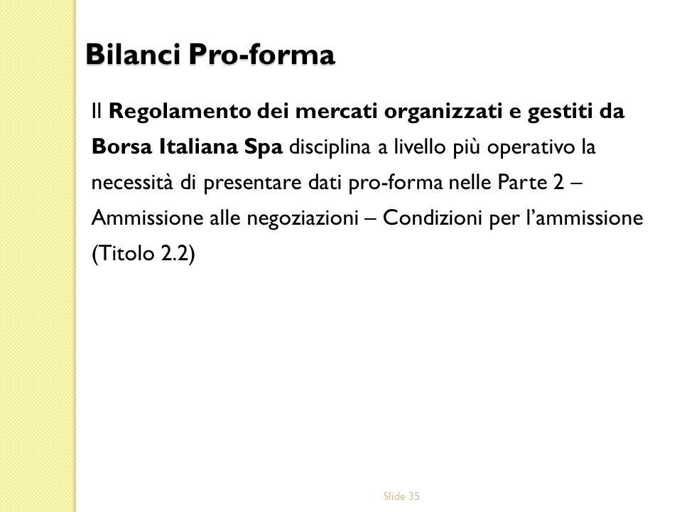 Slide 35 Il Regolamento dei mercati organizzati e gestiti da Borsa Italiana Spa disciplina a livello più operativo la necessità di presentare dati pro