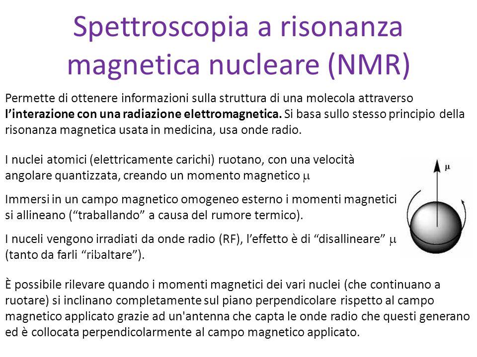 Spettroscopia a risonanza magnetica nucleare (NMR) Permette di ottenere informazioni sulla struttura di una molecola attraverso linterazione con una r