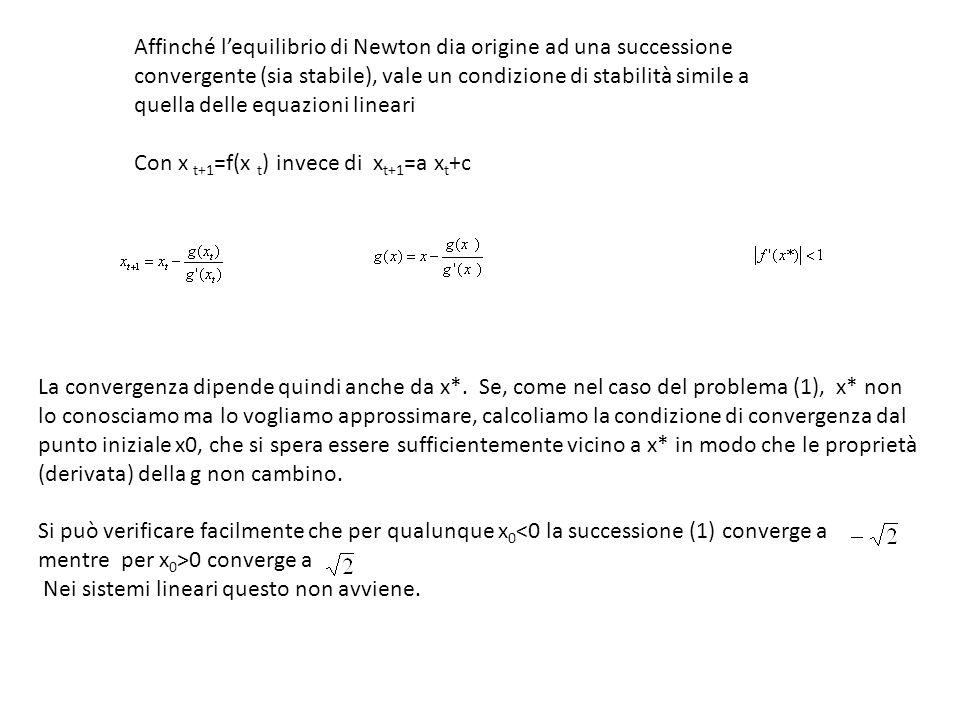 Affinché lequilibrio di Newton dia origine ad una successione convergente (sia stabile), vale un condizione di stabilità simile a quella delle equazio