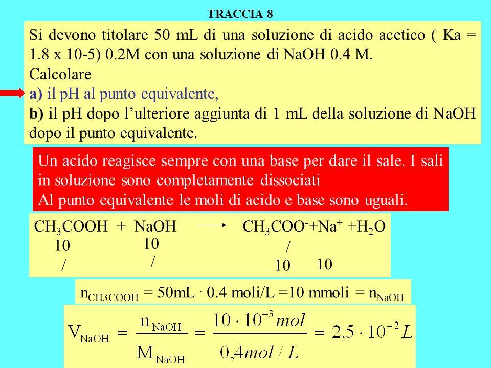 Si devono titolare 50 mL di una soluzione di acido acetico ( Ka = 1.8 x 10-5) 0.2M con una soluzione di NaOH 0.4 M. Calcolare a) il pH al punto equiva