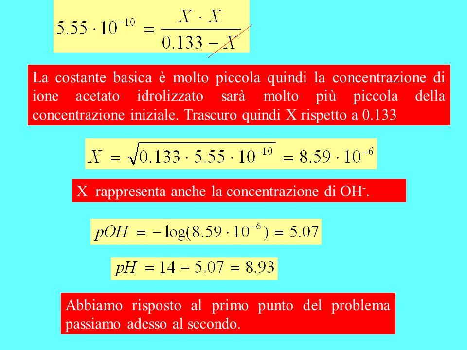 La costante basica è molto piccola quindi la concentrazione di ione acetato idrolizzato sarà molto più piccola della concentrazione iniziale. Trascuro