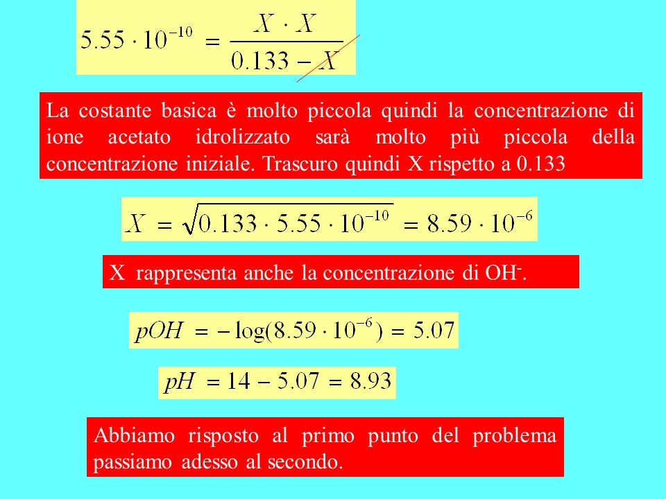 CH 3 COOH + NaOH CH 3 COO - +Na + +H 2 O Le moli di acido non variano mentre variano le moli di base.